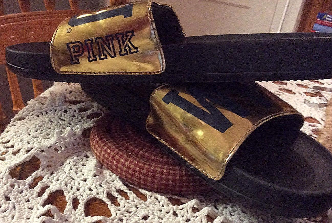 PINK Victoria's Secret WVU Slides Gold and Blue Women's Size 9.5 W image 2