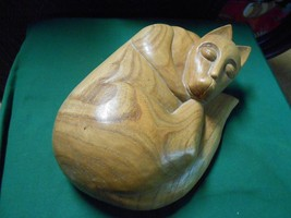 Great Handcrafted Wood CAT Statue / Figure ..Made in Indonesia............. - $11.88