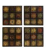 CC Home Furnishings 4 Barberry Hand painted Terracotta Ceramic Tile Wall... - $124.48