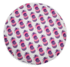 Purple Round Pineapple Tapestry Outdoor Beach Towel Picnic Blanket - $246,99 MXN