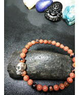 Bracelet Skull with Natural Stone Gold sandstone Men Women Valentines Day - $12.38