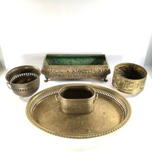 Lot 5 Planter Pot Tray Solid Brass Footed Embossed Pierced Rings Contemp... - $123.75
