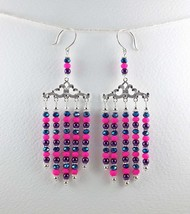 Chandelier Earrings, Handmade Large Blue Pink Purple Glass Bead Silver E... - $34.00