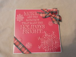 Hallmark Merry Are The Moments That make The Holidays Bright Ceramic Til... - $29.69