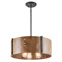 Kichler 42644DBK Elbur Semi Flush 18in Black Tones STEEL 3-light - $609.99