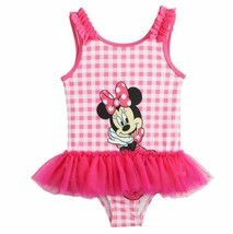 Toddler Girl 2T-5T Disney Minnie Mouse Pink White Checked Swimsuit Swim ... - $17.99
