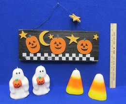 Halloween Wooden Plaque Sign 2 Ghost Candles & 2 Candy Corn Candles Lot ... - $18.80