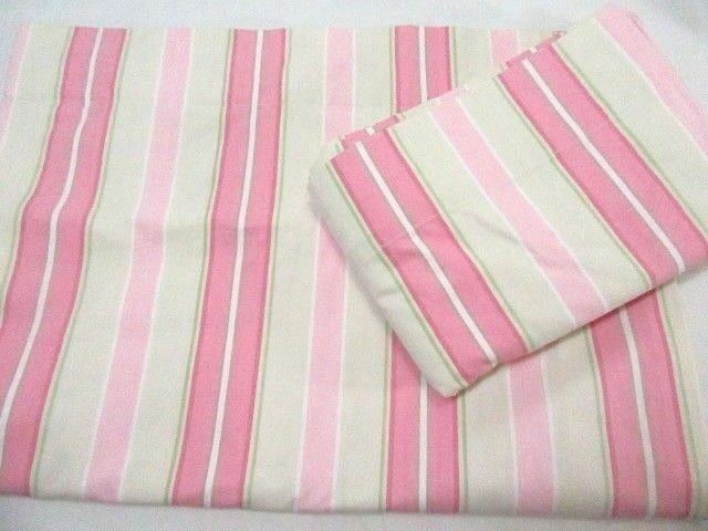 Primary image for Pottery Barn Kids Shelby Stripe Pink Cream 2-PC 88 x 63 Lined Drapery Panel Set