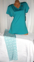 Plus Size Stretch V Neck Pajama Set 1X 2X 3X Turquoise Green Super Soft  - $28.99