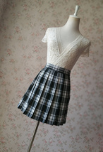 Black and White Plaid Skirt Mini Pleated Plaid Skirt Outfit A-line High Waisted image 7