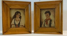 Vintage Deep Wood Picture Frame Set Boy Girl Prints From The 40'or 50's ... - €53,82 EUR