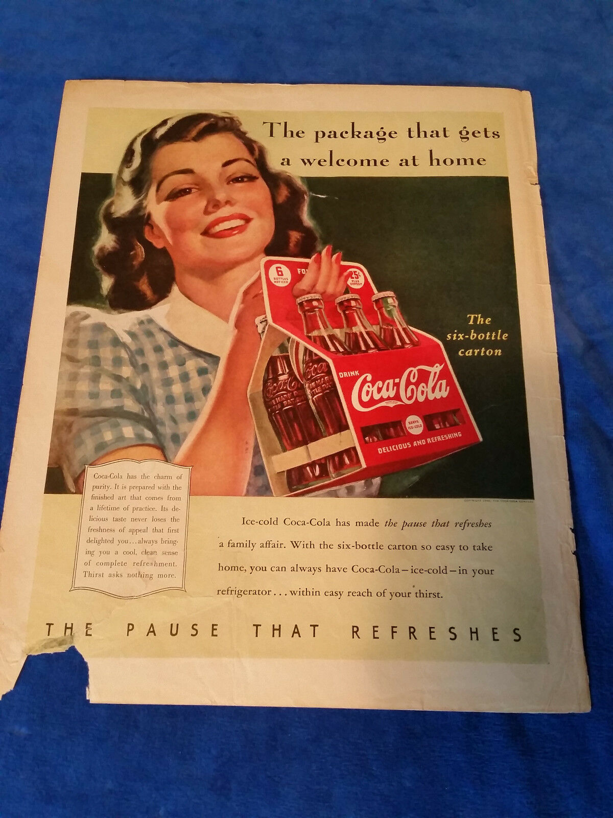 "Primary image for 1940 Original Coca Cola Magazine ad Package That Gets a Welcome 11""x13 3/4"""