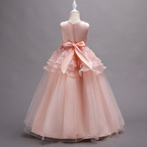 Off Shoulder Pink Floral Lace Flower Girls Dresses Pricess Party Gowns O-Neck  image 2