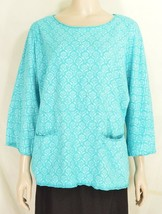 Fresh Produce top M/L heavy weight knit long sleeve pocket teal floral 18 - $39.59