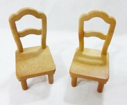 Vintage Puppenhaus Möbel Epoch Miniaturen Küche Stühle Esszimmer Stühle - $15.81