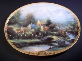Thomas Kinkade oval porcelain collector plate Lamplight County gold rim ... - $9.70