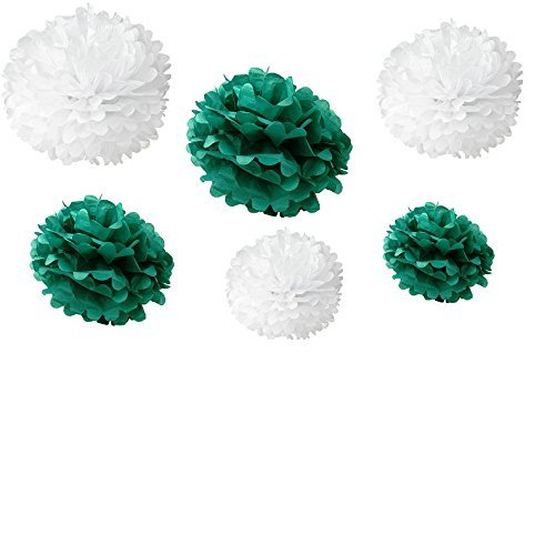 Somnr® Set of 12pcs Mixed 3 Sizes White Aqua green Tissue Paper Pom Poms Flower