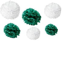 Somnr® Set of 12pcs Mixed 3 Sizes White Aqua green Tissue Paper Pom Poms... - $19.17