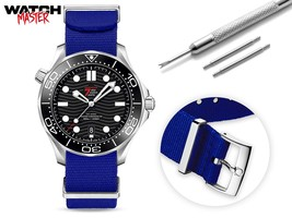 For OMEGA watch strap NATO G10 Nylon Military Army Band with Buckle Clasp Blue  - $31.99