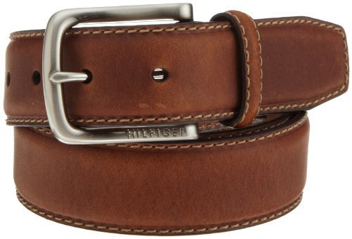Tommy Hilfiger Men's Leather Stitch Belt,Brown,34