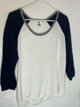 Old Navy Womens Navy and White Baseball Style Sweater Size Large - $14.01