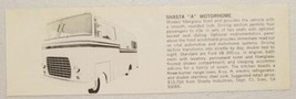 "1973 Print Ad Shasta ""A"" Motorhome with Ford V8 Engine Dimi,CA - $9.91"