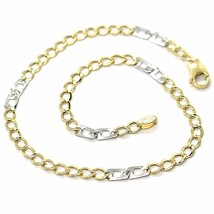 18K YELLOW WHITE GOLD BRACELET 3 MM, 7.9 INCHES, ALTERNATE GOURMETTE AND SQUARE image 1