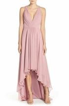 MONIQUE LHUILLIER BRIDESMAIDS Deep V-Neck Chiffon High/Low Gown Sz 12 Ce... - $122.00