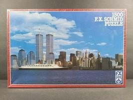 New York Manhattan Skyline 1500 Piece Jigsaw Puzzle Schmid Vintage Citys... - $39.59