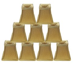 Urbanest Set of 9 Square 4-inch Softback Bell Chandelier Lamp Shade, Gold, Faux  - $54.44