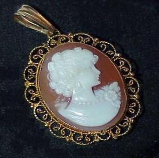 Primary image for 18K Cameo Brooch Pin Pendant Necklace Filligree Estate Antique