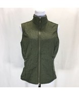 Lucy Olive Green Quilted Zip Front Vest Womans Large Fleece Lined Lightw... - $31.88