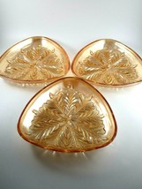 Vintage Marigold Iridescent Glass Triangle Shaped Luncheon/Snack Plates ... - $12.87