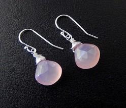 Pink Chalcedony Drop Earrings, Sterling Silver Teardrop Jewelry - $24.00