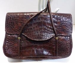 1960s Vintage Brown Moc Croc Handbag Metal Zippers Vinyl - $19.80