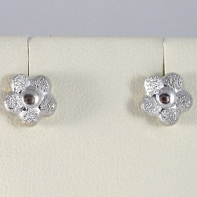 WHITE GOLD EARRINGS 750 18K LOBE, DAISIES, FLOWERS, LENGTH 0.7 CM