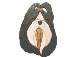 Shih Tzu Topknot - intarsia Wood Carving - $110.99