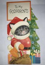Vintage American Greetings Godparents Christmas Greeting Card Cat Kitten - $6.92