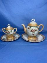 Vintage White Golden Floral Design Set of 2 Teapot With Saucer Made In J... - $24.99