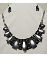 Cultural Generations Fashion Gown Necklace Silver Black Earrings Adjusta... - $17.81