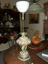 Exquisite, Rare Vintage Capodimonte Style Torch Lamp By Rembrandt Lamps - $321.75