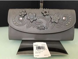 COACH Slim Envelope Wallet With Floral Tooling F38666 Heather Grey Multi - $94.81