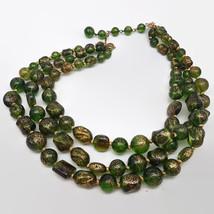 Vintage Marvella Green & Gold Speckled Plastic Bead Triple Strand Necklace - $20.37