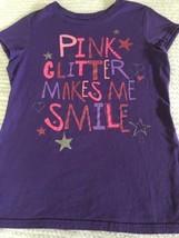 Hanes Purple Short Sleeve Top Girls Sz Large Pink Glitter, Stars Hearts ... - $8.90
