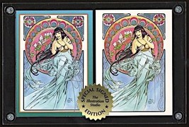 SIGNED Steve Woron 2 BETTY PAGE in Mucha style STUNNING Trading Cards Sc... - $15.73