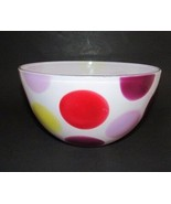 """Vintage medium mixing bowl fired on white red yellow purple dots   8 3/8"""" - $24.05"""