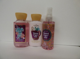 Bath & Body Works Twisted Peppermint travel set of 3 mist lotion shower ... - $14.80