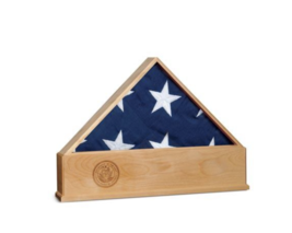 SOLID OAK US FLAG DISPLAY CASE WITH NAVY EMBLEM BURIAL SHADOW BOX - $712.49