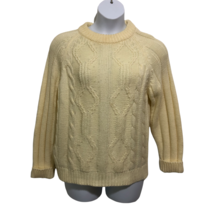 Vintage National Shirt Shops Womens Yellow Sweater Pullover Cable Skiing... - $23.74