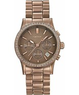 DKNY NY8324 Women Round LIGHT ALUMINUM Watch BROWN Bracelet BROWN Dial CRYSTALS - $210.03